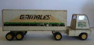 Vintage-Tonka-Mini-Semi-Truck-And-Trailer-Gambles-Flat-Nose-Pressed-Steel-Toy