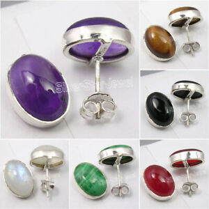 925-PURE-Silver-Natural-Gemstone-EARRINGS-Handcrafted-Fashion-Jewelry-NEW