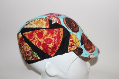 CYCLING CAP PIZZA  /& DONUTS  100/% COTTON HANDMADE IN USA M L