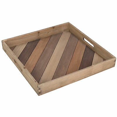 MyGift Set of 2 Natural Wood Square Serving Trays with Decorative Vintage Metal Accents