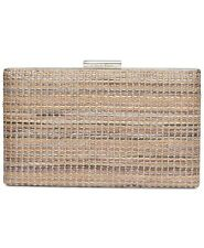 Calvin Klein Evening Brown Purse Novelty Woven Natural Straw Box Clutch Handbag