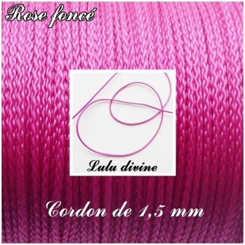 3 m Fil en polyester de 1,5 mm Rose foncé couleur Cordon