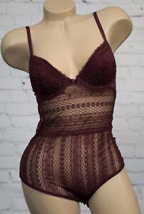 05695ea7cc7b5 Oysho Wine Floral Geometric Lace Body Bodysuit 34B Padded Cups Open ...