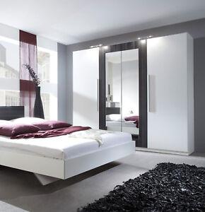 kleiderschrank schlafzimmerschrank 228cm wei nussbaum schwarz spiegel 54027 ebay. Black Bedroom Furniture Sets. Home Design Ideas