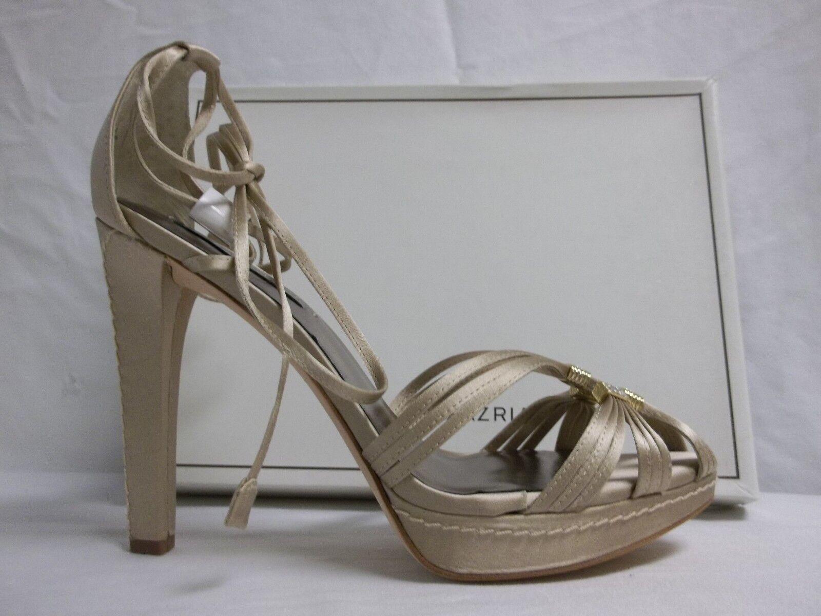 BCBG Max Azria Azria Azria Größe 10 M Elise Champagne Satin Open Toe Heels New damen schuhe 583a39