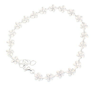 STERLING SILVER 925 HAWAIIAN PLUMERIA FLOWER BRACELET CZ 6MM 7.5""