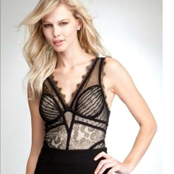 NEW bebe schwarz lace lingerie deep v neck sexy bodysuit top S Small 4 tank club