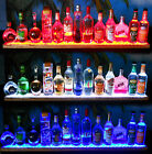 "36"" LIQUOR BOTTLE DISPLAY, SHOT GLASS BAR SHELF - OAK W/ MULTI COLOR LED LIGHTS"