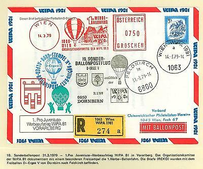 Austria Austria Ay33 Wipa 1981 Ballon Post Cover Sc Registered Always Buy Good Stamps