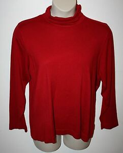 NEW-Joseph-A-Rayon-Spandex-Stretch-Ruched-Neck-Red-Long-Sleeve-Soft-Top-Size-2X