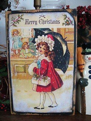 Primitive Christmas Sign Merry Christmas Vintage Postcard