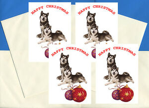 Husky Christmas Cards.Details About Siberian Husky Sled Dog Pack Of 4 Cards Dog Print Greeting Christmas Cards