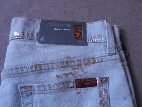 SEVEN FOR ALL MANKIND WOMENS ROXANNE W// METALLIC PAINT SKINNY JEANS SIZE 25 NEW