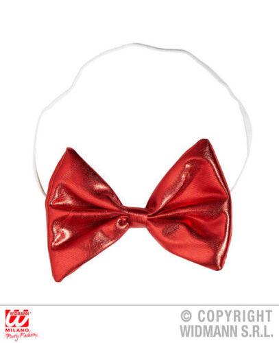 Rosso metallizzato farfallino CLOWN CIRCO ACCESSORIO COSTUME CARNEVALE