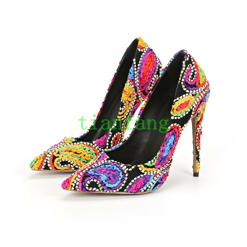 femmes Multi Couleur Pointy Toe Pumps Stiletto High Heels PARTY chaussures Slip On Club