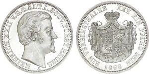 Germany 1 Taler 1868 Reuss-Obergreiz Heinrich XXII KM#120 RRR Mintage:7100