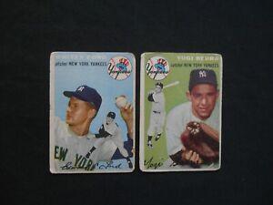 1954-Topps-337-50-Yogi-Berra-Whitey-Ford-Baseball-Card-Lot-2-New-York-Yankees