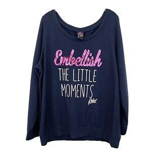 Rebel Wilson x Torrid Embellish Little Moments Navy Sweatshirt Sequin Soft 1X 1