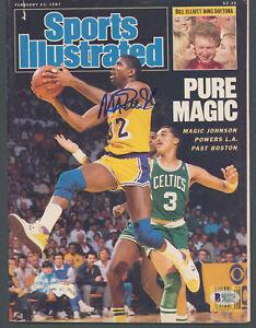 Lakers Magic Johnson Signed Feb 1987 Sports Illustrated Magazine BAS #MJ17758