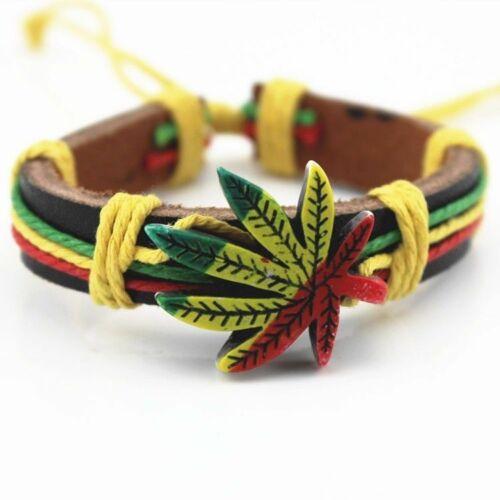 All COLOUR Surfers Wristband Bracelet Marijuana Weed Leaf Hemp Tribal Rasta BOYS