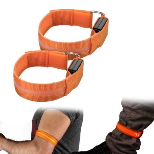 2er Set Armband Beinband LED Orange Jogging Fitness Band Licht Sport Reflektor