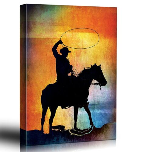 Colorful Background with Cowboy Horse and Lasso 16x24 Canvas Art Home Decor