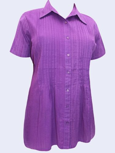 NEW Woman Within PURPLE//BERRY Pintuck Short Sleeve Blouse SIZES 18//20 to 42//44