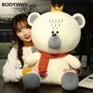 Crown-Teddy-Bear-Plush-Toys-Cute-Stuffed-Bear-Scarf-Dolls-Cartoon-Pillow-Gift