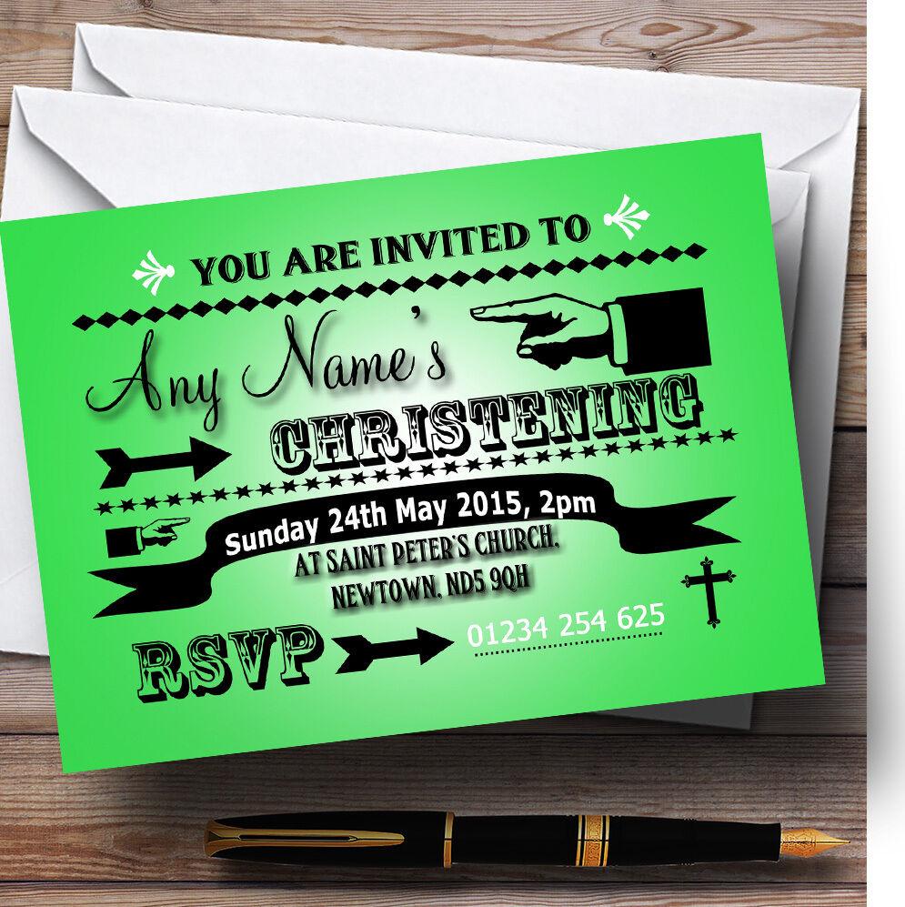 Vert citron typographie mot art party baptême party art invitations personnalisées 61b42d