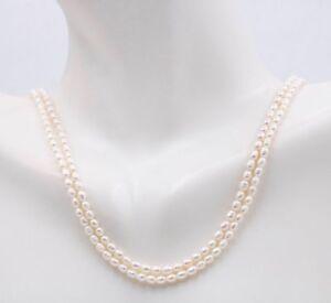 2-Straenge-3-3-5-mm-Weiss-Suesswasser-Perle-Halskette