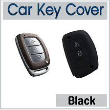 Silicone Case Cover SMART Key Hyundai IX35 IX45 I40 Elantra Accent SantaFe-BLACK