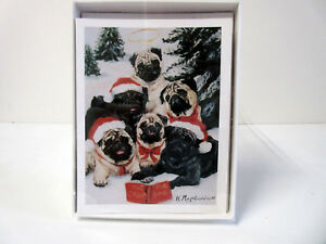 New Pug Dog Holiday Greeting Cards 6 Note Cards 6 Envelopes Pugs