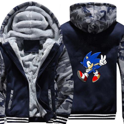 Anime Sonic the Hedgehog Hoodie Men Boys Zip Sweatshirt Thick Warm Fleece Coat //