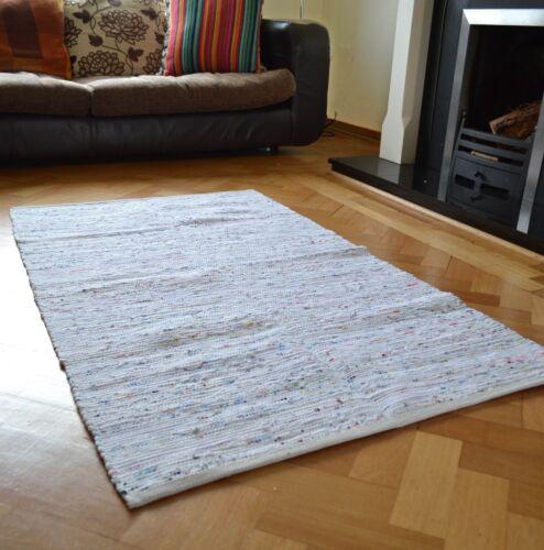 White Chindi Rag Rug Handmade Recycled Cotton 60x90cm 90x150cm 120x180cm