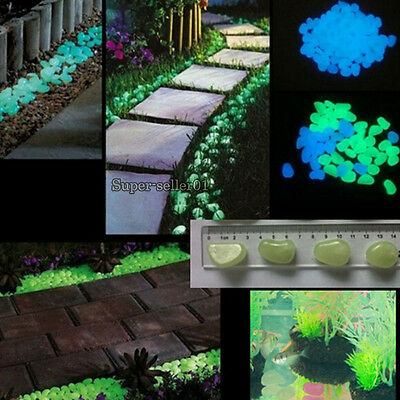 10pcs Glow Cobbles in the Dark Stone Pebble Fish Tank Aquarium Garden Decoration