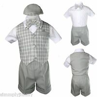 Baby Boys Easter Formal Party Eton Vest Suit Born To 4t Gray Checks Gingham