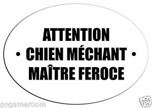 Autocollant attention chien mechant