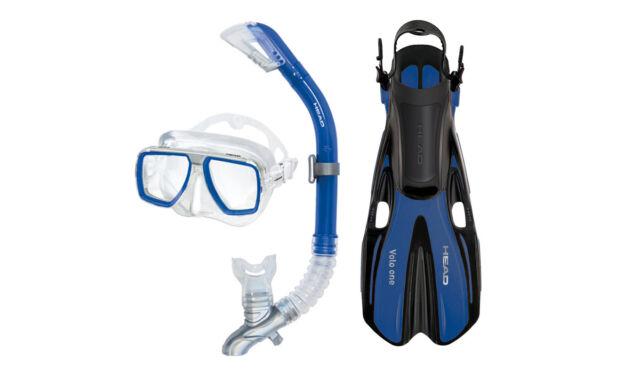 Head Tarpon//Barracuda Volo Mask Snorkel Fins Set Scuba Diving Snorkeling Yellow