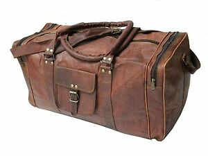 Mens New Genuine Leather Duffle Weekend Travel Gym Overnight Bag Luggage Holdall
