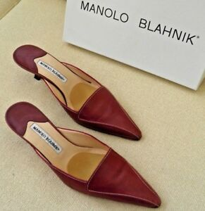 bd623165c37fb Image is loading MANOLO-BLAHNIK-BROWN-LEATHER-KITTEN-HEEL-PUMPS-SLIDES-