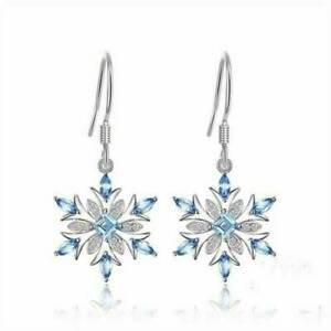925-Silver-Aquamarine-Snowflake-Earrings-Womens-Christmas-Jewelry-Gifts-Sexy