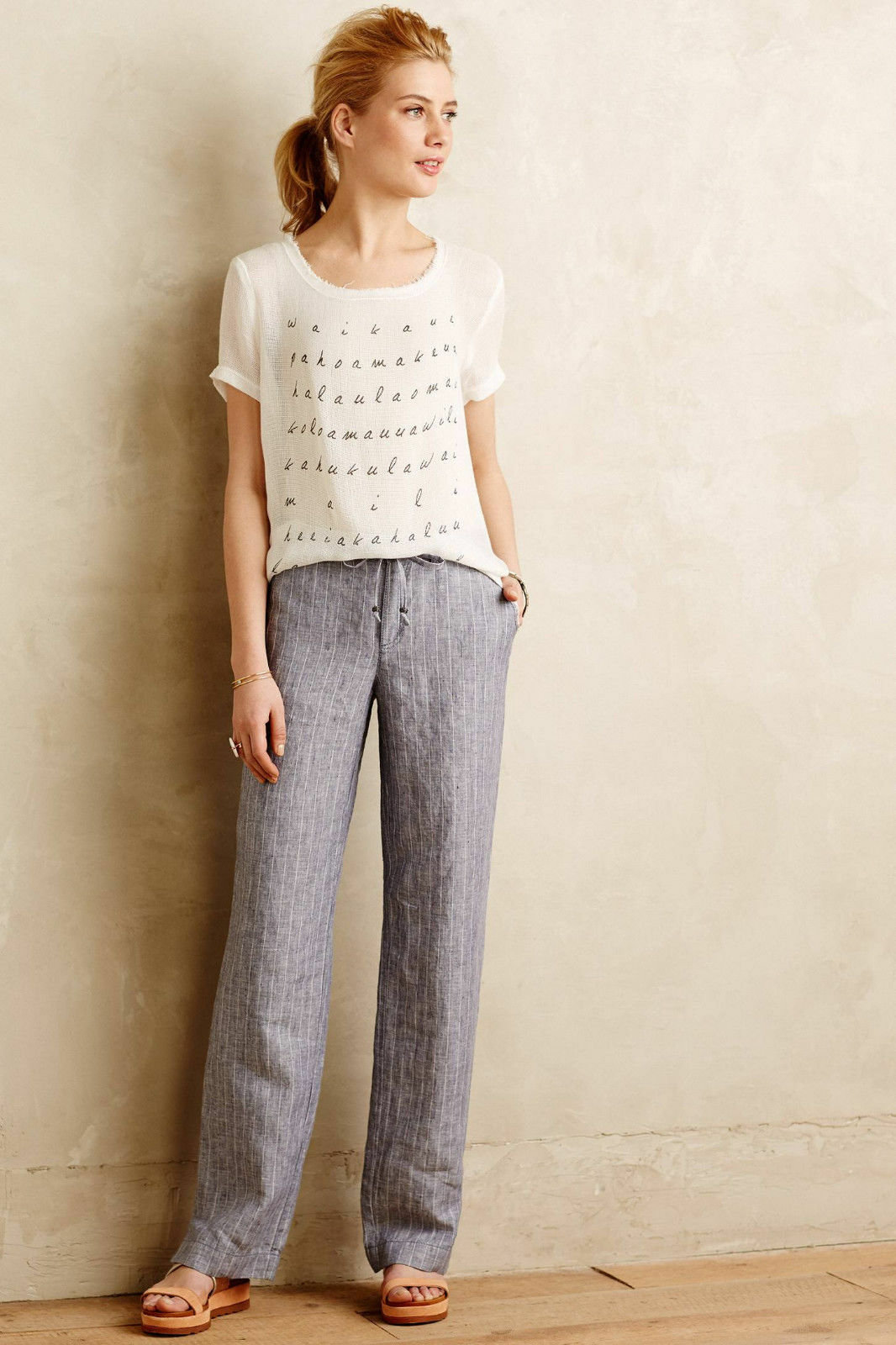 Anthropologie Pants Trousers bluee Pinstriped Linen Relaxed Fit By Marrakech, 26