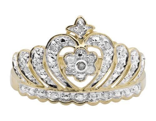 Ladies 10K Yellow Gold Heart Crown Tiara Flower Diamond Statement Ring 0.15ct