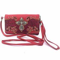 Vintage Cross Wristlet Wallet Croc Skin Long Strap Cross Body Small Purse Red