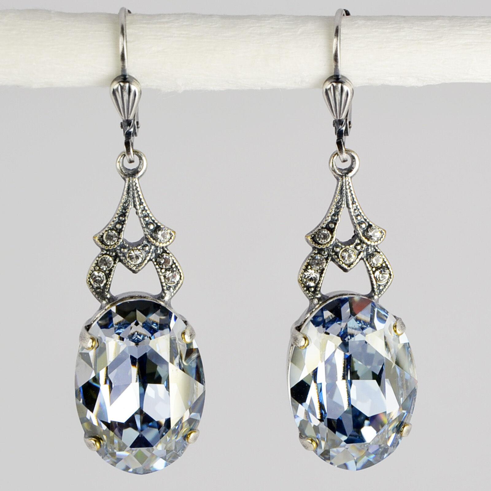 Grevenkämper Ohrringe Swarovski Kristall silver Oval Vintage blue bluee Shade