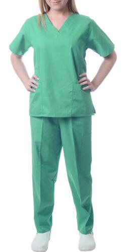 Sherly Uniforms Womens Medical Scrub Set V-neck Top and 4 Pocket Pant