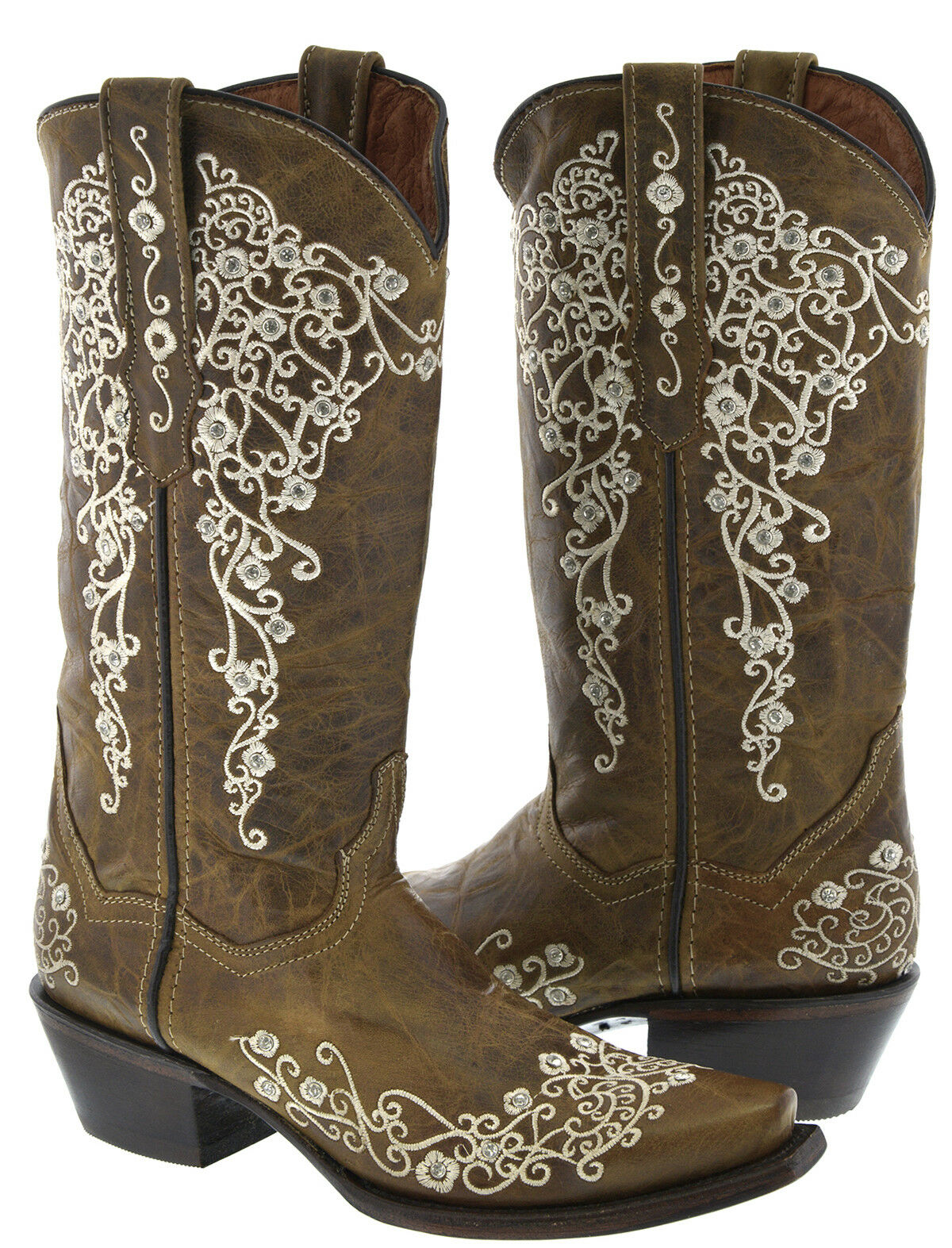 Women's Light Brown Western Leather Cowboy Cowgirl Boots Embroidered Snip Snip Snip Toe f67227