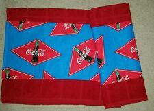 RETRO DIAMOND COCA COLA LOGO BOTTLE SODA POP MAROON KITCHEN TOWEL SET 2