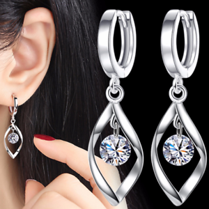 5ae44058bc851 Details about Womens Leaf Round Ball Huggie Hoop Earrings Fashion 925  Sterling Silver Plated