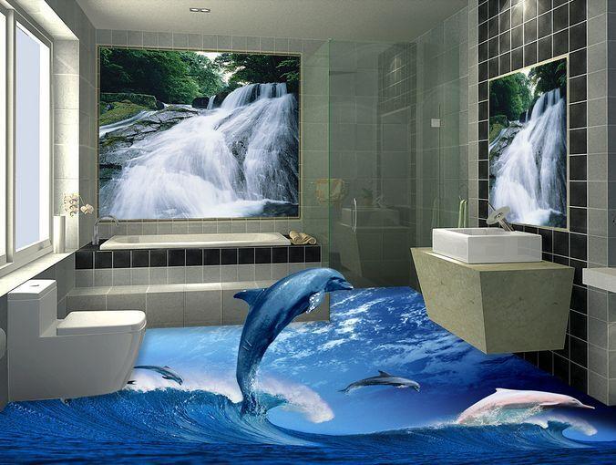 3D olas azules Piso impresión de parojo de papel pintado mural Delfín Calcomanía 5D AJ Wallpaper